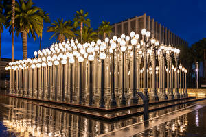 Картинки Штаты Вечер Лос-Анджелес Музей Уличные фонари Дизайн Los Angeles County Museum of Art город