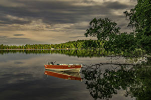 Фотография Штаты Речка Лодки Ветвь Отражение Minnesota Природа
