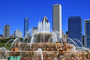 Фотографии Штаты Небоскребы Фонтаны Парк Чикаго город Illinois, Buckingham Fountain, Grant Park