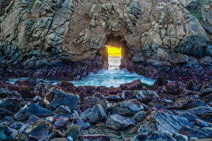 Фотография Штаты Камни Калифорнии Скала Pfeiffer Beach Природа