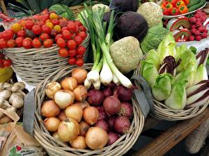 Фотографии Овощи Лук репчатый Помидоры Грибы Корзинка Еда