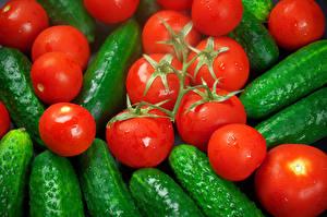 Фото Овощи Томаты Огурцы Вблизи Пища