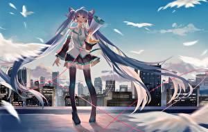 Обои для рабочего стола Vocaloid Hatsune Miku Юбке Громкоговоритель Волосы Аниме Девушки