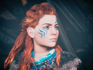 Фото Воители Horizon Zero Dawn Рыжие Лицо Смотрят Волосы Aloy Девушки 3D_Графика