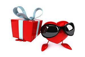 Фотографии Белым фоном Очках Сердечко Подарок Коробка Бантик 3D Графика