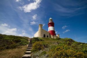Обои Африка Маяк Холм Лестницы Кусты Cape Agulhas Lighthouse South Africa Природа