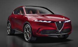 Картинка Альфа ромео Серый фон Красный 2019 Tonale Concept машина