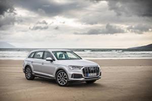 Картинки Audi Белых Металлик 2019 Q7 50 TDI quattro Worldwide (4M) авто