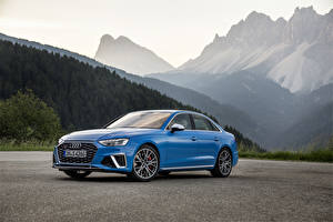 Картинки Audi Голубых Металлик 2019 S4 Sedan TDI Worldwide (B9) машины