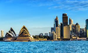 Фотография Австралия Дома Побережье Сидней Залив Opera House Города