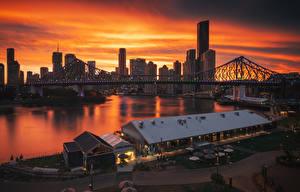 Фотография Австралия Дома Речка Мосты Причалы Рассветы и закаты Брисбен Города