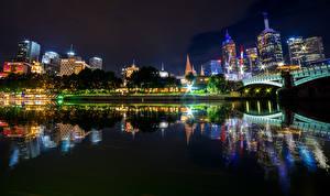 Фотография Австралия Мельбурн Здания Реки Мосты Ночь Отражение город
