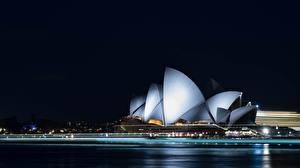 Картинки Австралия В ночи Сидней Opera House Города