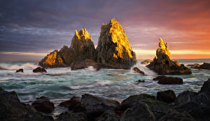 Фотографии Австралия Волны Рассвет и закат Камни Сидней Залива Утес Природа