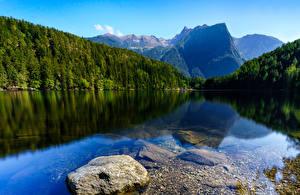 Картинка Австрия Река Горы Лес Камни Oetztal Tyrol Природа