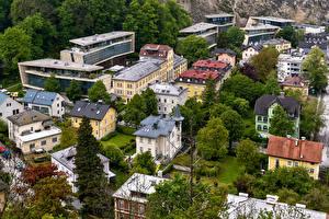 Фотография Австрия Зальцбург Здания Крыша Сверху Города