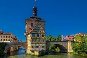 Фотографии Мост Здания Германия Водный канал Бавария Bamberg Old town hall Regnitz River Города