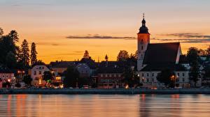 Фото Будапешт Венгрия Рассвет и закат Церковь Реки Дома Вечер Danube город