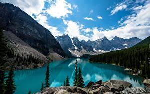 Картинки Канада Парк Озеро Горы Леса Пейзаж Банф Rocky Mountains, lake Louise