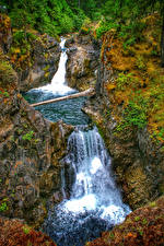 Картинка Канада Водопады Парки Скалы Little Qualicum Falls Provincial Park Vancouver Island Природа