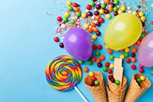 Картинки Конфеты Леденцы Драже Воздушные шарики Вафельный рожок