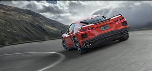 Обои Chevrolet Сзади Красных 2020 Corvette C8 Stingray Автомобили