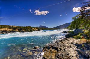 Фотографии Чили Берег Волны Залива Холм Patagonia Природа