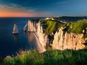 Фотографии Побережье Франция Трава Утес La Manche Природа