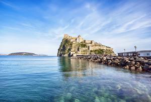 Фото Побережье Италия Замок Naples Ischia Aragonese Города