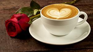 Фотография Кофе Капучино Роза Чашка Блюдца Сердечко Продукты питания Цветы