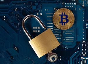Картинки Монеты Bitcoin Висячий замок Замковый ключ Компьютеры