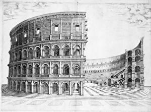 Картинки Колизей Рим Рисованные Черно белое construction of the colosseum Города