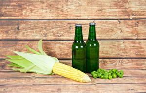 Картинки Кукуруза Пиво Хмель Доски Бутылка Продукты питания