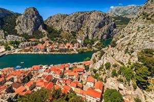Фотография Хорватия Дома Гора Река Причалы Утес Omis Города