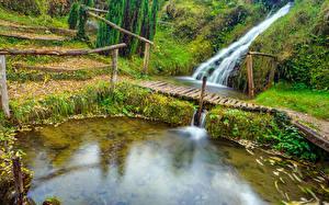 Обои Хорватия Парк Пруд Водопады Мост Rastoke Slunj