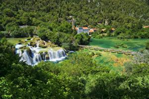 Фотография Хорватия Парк Водопады Леса Озеро Мосты Krka National Park Природа