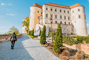 Фото Чехия Замок Дороги Уличные фонари Ель Mikulov Castle Southern Moravia