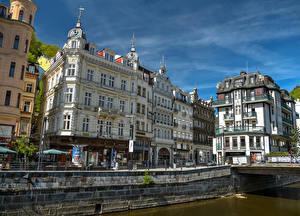 Фотография Чехия Здания Водный канал Улице Karlovy Vary город