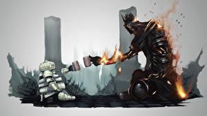 Фотографии Dark Souls Великан Огонь Фан АРТ Кружки Броне Две Siegmeyer of Catarina Yhorm компьютерная игра