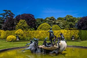 Обои Англия Парк Фонтаны Скульптура Дизайна Кустов Aylesbury Vale Природа