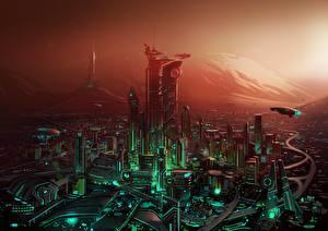 Картинка Фантастический мир Дома Фантастика Города