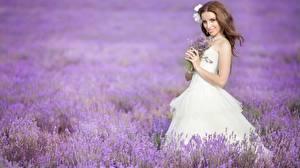 Фотографии Поля Лаванда Шатенки Улыбается Невесты Платья девушка