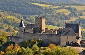 Обои Лес Осенние Замок Люксембург Bourscheid Castle Города