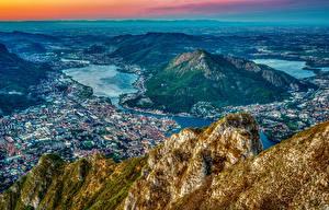 Фотографии Франция Дома Горы Реки Сверху Холм Millau city Pyrenees Города
