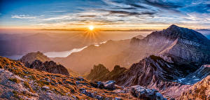 Обои Франция Горы Рассвет и закат Река Пейзаж Солнца Pyrenees Природа