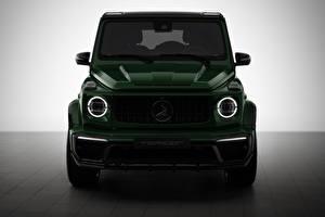 Обои для рабочего стола Гелентваген Мерседес бенц Спереди Зеленая AMG Inferno 2019 авто