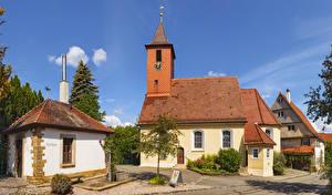 Картинки Германия Здания Часы Башни Hepsisau город