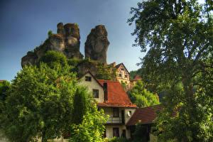 Картинки Германия Дома Бавария Утес Дерева Oberfranken Города