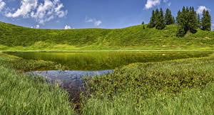 Картинки Германия Озеро Бавария Холмы Трава Oberallgau Природа