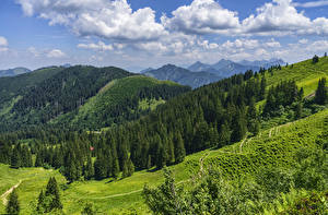 Фото Германия Гора Лес Небо Пейзаж Бавария Альп Облака Oberallgau Природа